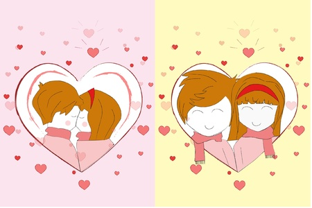 set of card sweet love couple collection  Vector