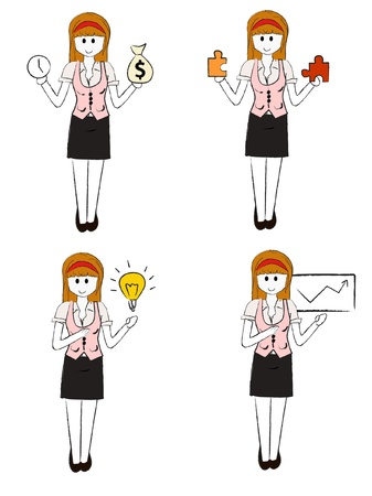 outline women: set of business woman collection vector