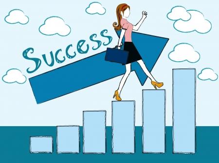 성공적인 여자 - 비즈니스 우먼 성공 차트 일러스트