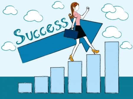 successful leadership: successful woman - business woman success chart  Illustration