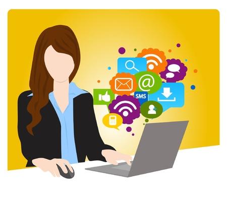 trabajo social: concepto de red social Vectores