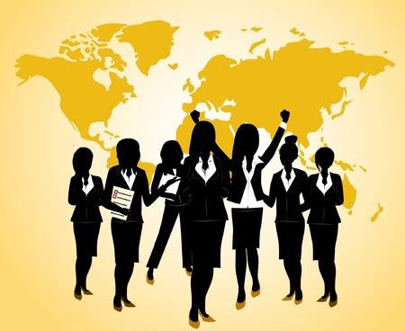 silhouette of women: business team work