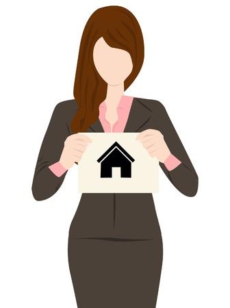 hand holding paper: Mano casa di carta Vettoriali