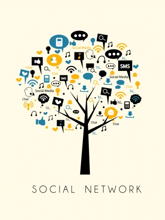 business networking: tree of social media and social network Illustration