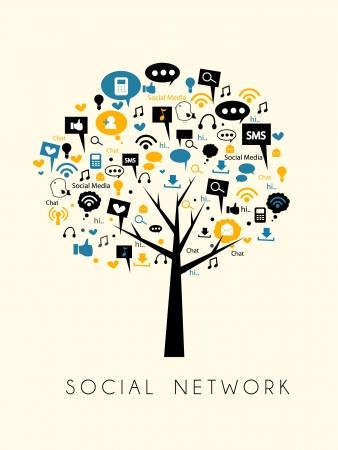media love: tree of social media and social network Illustration