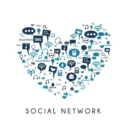 i love social media - social network Stock Vector - 19241819
