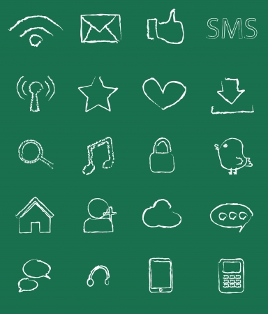 set 20 icon social media chalkboard symbol Vector
