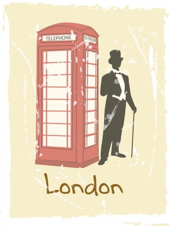 victorian gentleman london doodle with payphone Vector