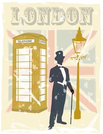 cartoline vittoriane: Vittoriano gentiluomo londra scarabocchio Vettoriali