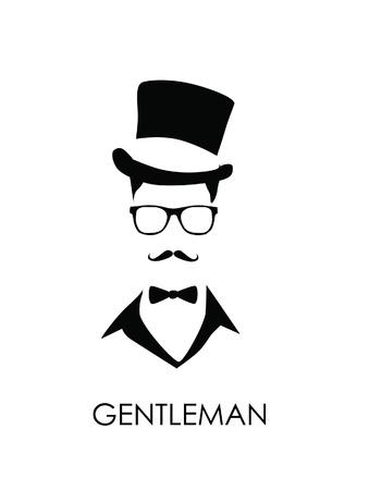 top hat: mustache man