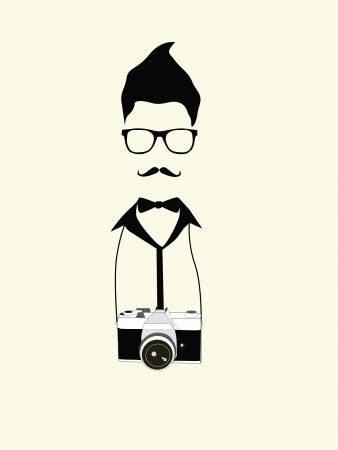 geek fotograaf man met oude camera vintage Stock Illustratie