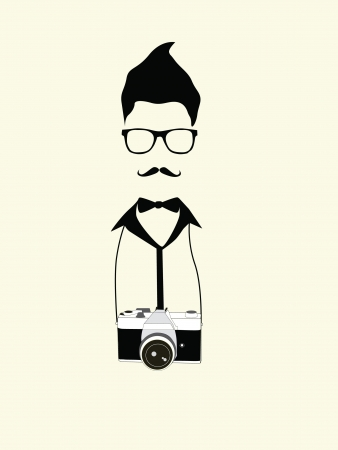 geek photographer man with old camera vintage