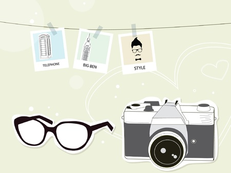 Traveling with camera vintage Vector