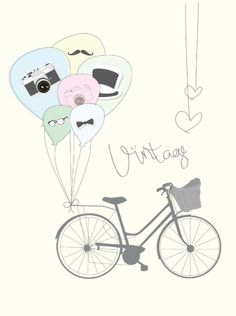 vintage clothing: old bicycle with balloons