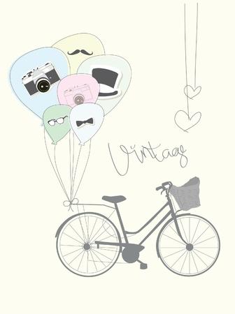 oude fiets met ballonnen