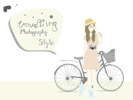 photography geek girl traveling with bicycle  Vector