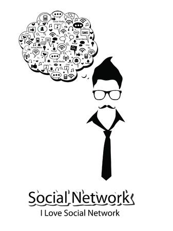 social network: social network  - social media  - man thinking of marketing concept  Illustration