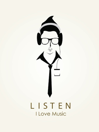 Listening to music vector Illustration