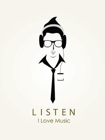 Listening to music vector Illustration