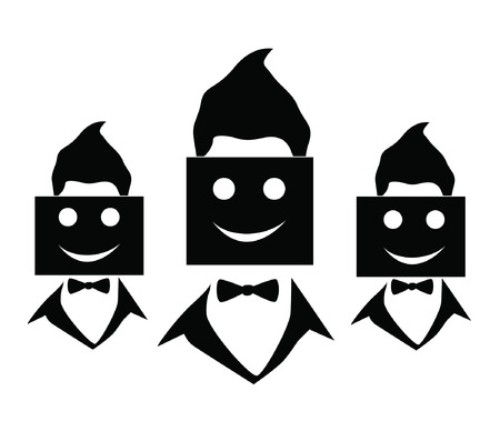 incompatible: group of business people holding cardboard smile Illustration
