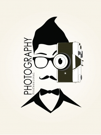 Photography Man with Camera Vintage Vector Silhouette