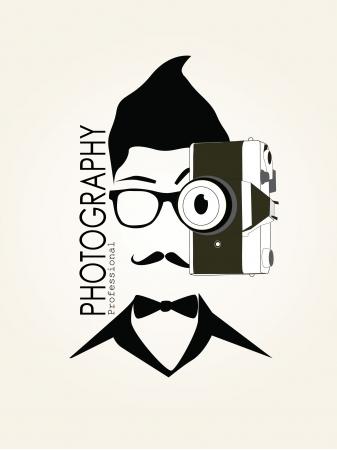 Photography Man met camera Vintage Vector Silhouet