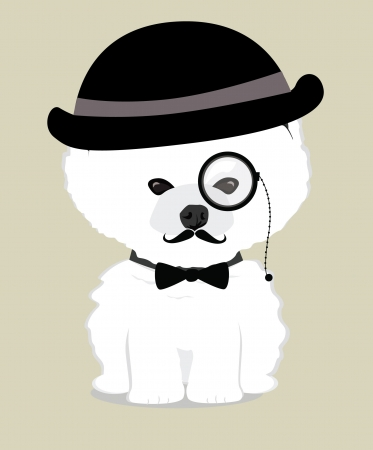 cute and adorable baby dog with mustache and hat vector Vector