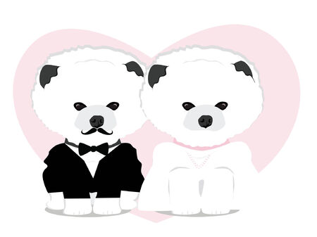 cute and adorable dog couple wedding vector Vector