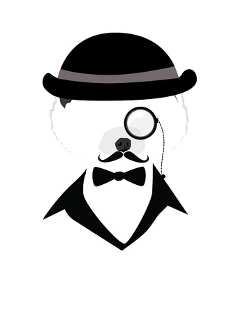 dog with mustache bow tie and hat vector silhouette Vector