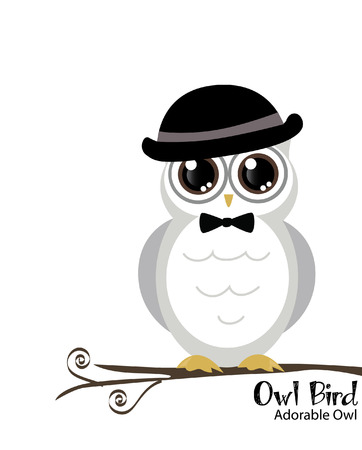 cute and adorable owl on tree vector Stock Vector - 24801869