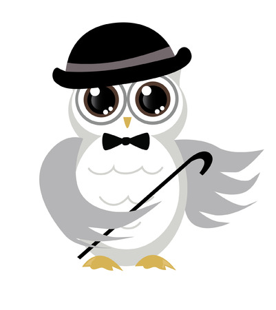 adorable and cute owl with hat and bow tie vector Vector