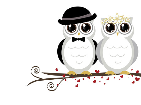 adorable couple wedding cute owls vector Vector