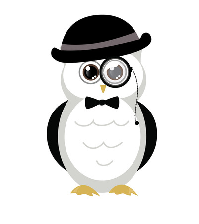 black bow: adorable and cute owl bird with hat and bow tie black and white