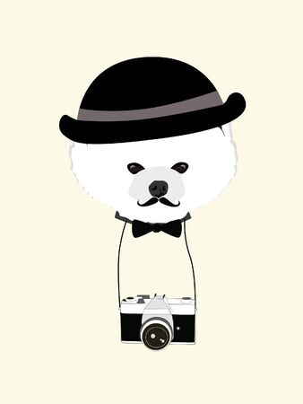 cute dog photographer with old camera vintage illustration vector Vector