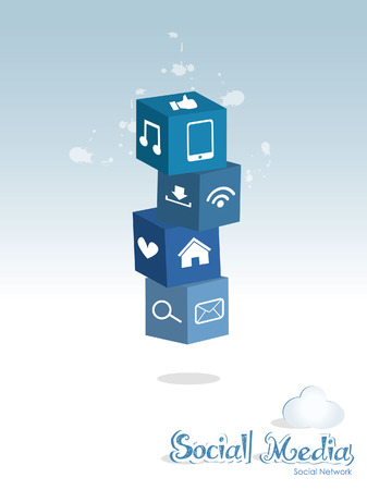 social media internet cloud computing technology network 3d cube vector Vector