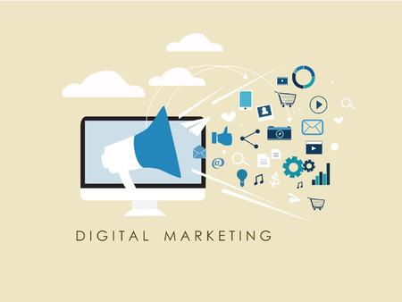 mercadotecnia: Internet de las cosas y compartir concepto con el marketing digital señal de diseño plano y la comercialización del Internet del vector medios de comunicación social