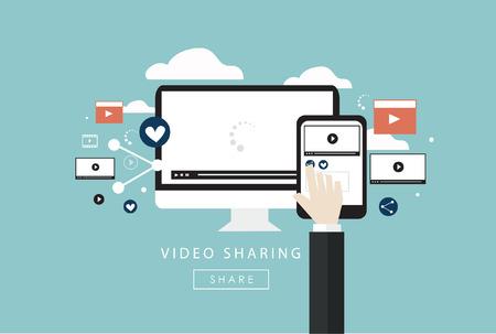 사물의 인터넷 비디오 공유 평면 디자인 기호 디지털 마케팅과 인터넷 마케팅 소셜 미디어 벡터