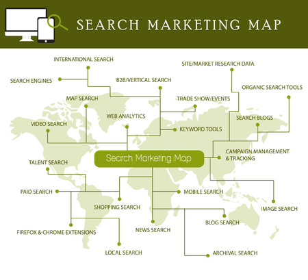 internet of things and sharing concept social marketing map digital marketing and internet marketing social media vector