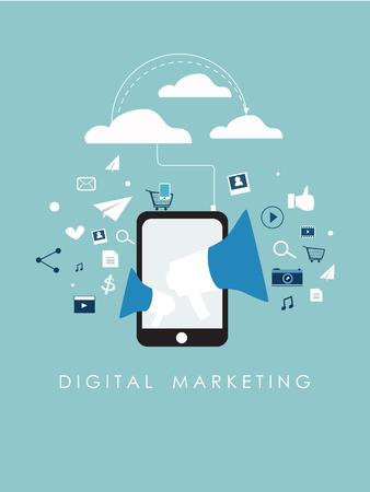 평면 디자인 기호 디지털 마케팅과 인터넷 마케팅 소셜 미디어 벡터와 사물의 인터넷 및 공유 개념