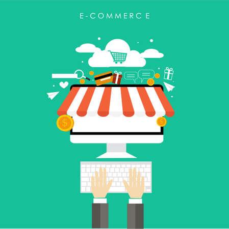 commerce: internet for business commerce Illustration
