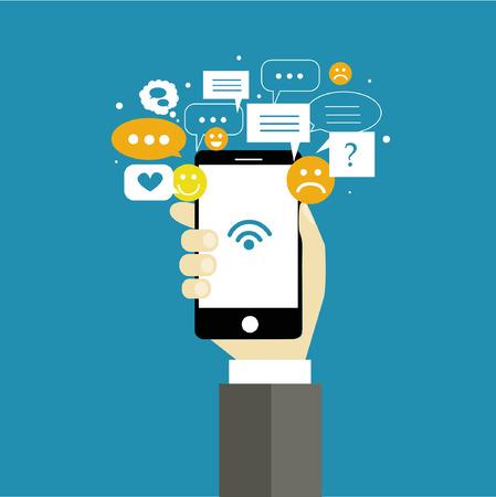 Social Network Vector Concept. Flat Design illustratie voor Web Sites Infographic Design.