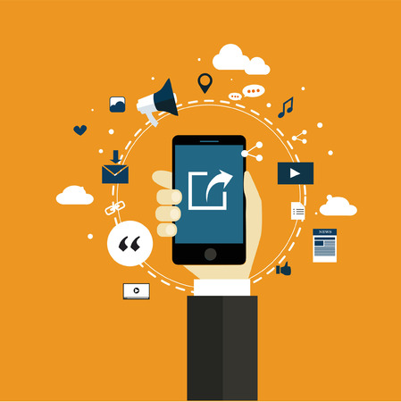 share information: sharing internet of things technology flat design vector