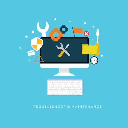 troubleshooting: troubleshooting and maintenance symbol flat design