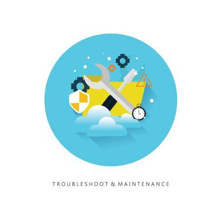 solucion de problemas: El diseño plano de solución de problemas y mantenimiento símbolo Vectores
