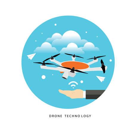 remote: drone flying on the blue sky flat design Illustration