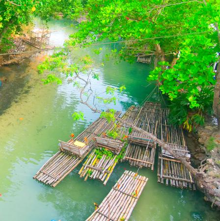White river rafting in St. Mary, Jamaica - Ocho Rios Stock Photo