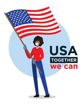 Afro american woman with USA flag encouraging people against coronavirus
