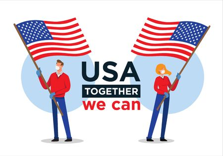 American man and woman with USA flag encouraging people against coronavirus