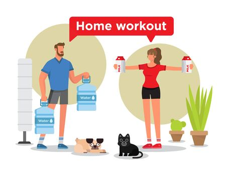 Man and woman working out in their home. They are doing their exercises with daily things like bottles of water or boxes of milk. There are also a pug, a cat, plants and a lamp.