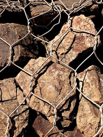 gabion mesh: rocks texture close up